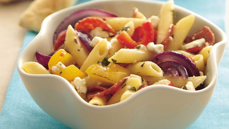 Roasted Sweet Pepper Pasta Salad with Herbs and Feta