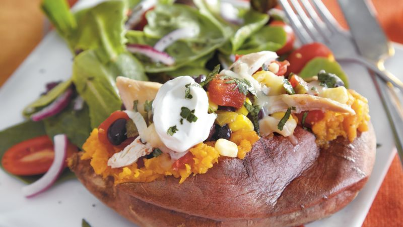 Baked Sweet Potatoes with Mexican Toppers