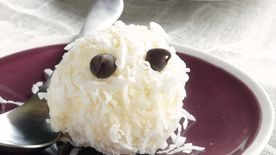 Coconut-Covered Ice Cream Ghosts