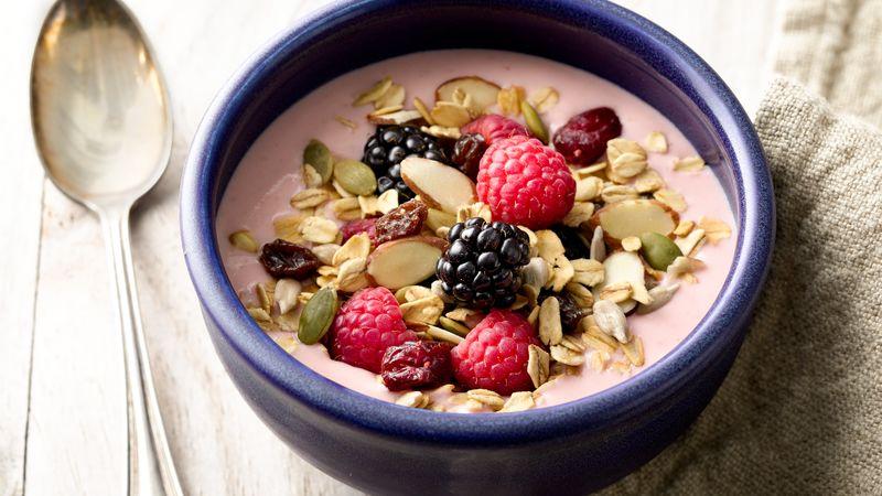 Muesli Greek Yogurt Smoothie Bowls Recipe Bettycrocker Com