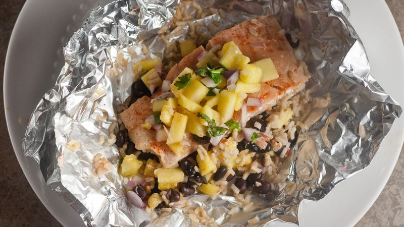 Salmon and Pineapple Salsa Foil Packs