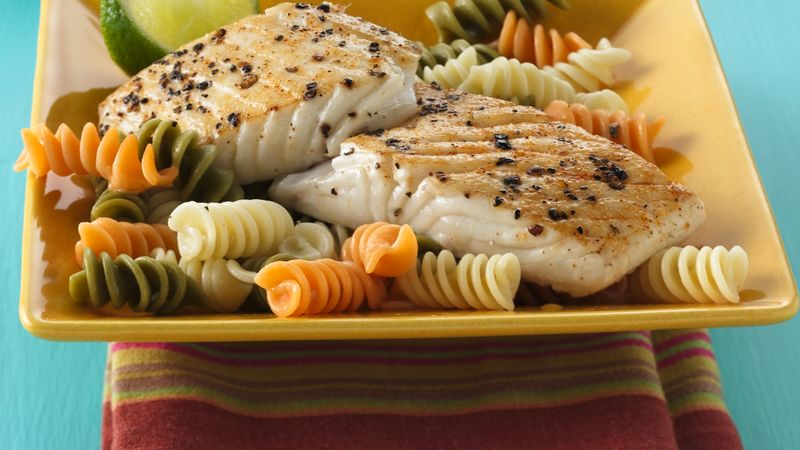 Pan-Roasted Halibut over Rotini