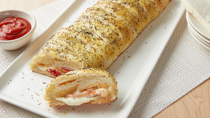 Braided Stuffed Pizza Bread Recipe Pillsbury Com