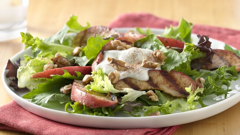 Grilled Apple Salad with Vanilla Yogurt
