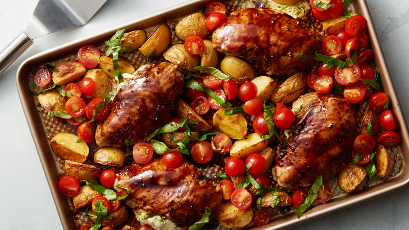 Sheet-Pan Caprese Chicken with Potatoes