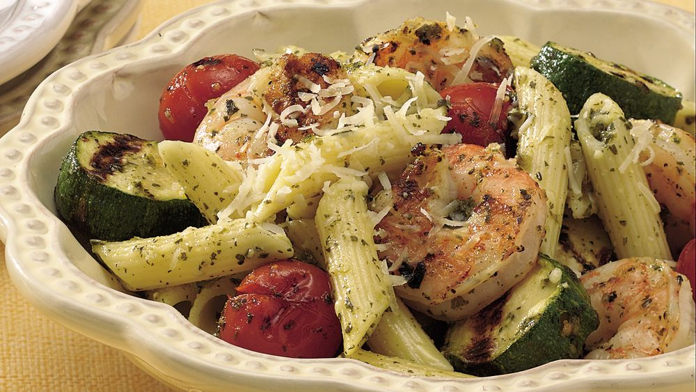 Grilled Pesto Shrimp with Pasta