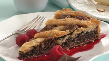 Fudge Crostata with Raspberry Sauce