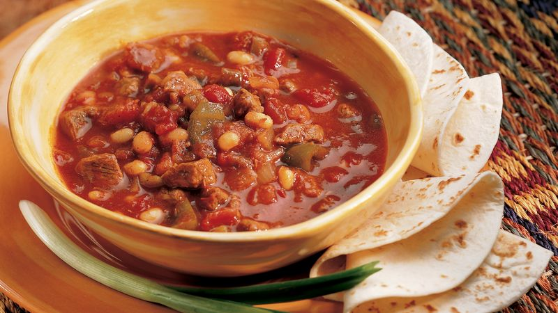 Slow Cooker Beefy Salsa Chili Recipe Bettycrocker Com