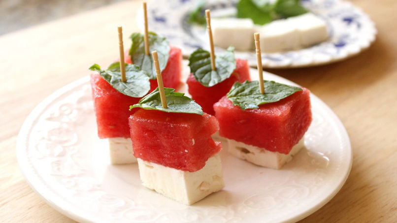 Watermelon and Feta Toothpick Snacks