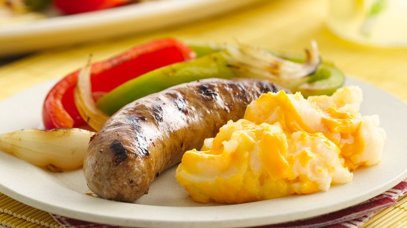 Grilled Sausage and Peppers with Cheddar Potatoes