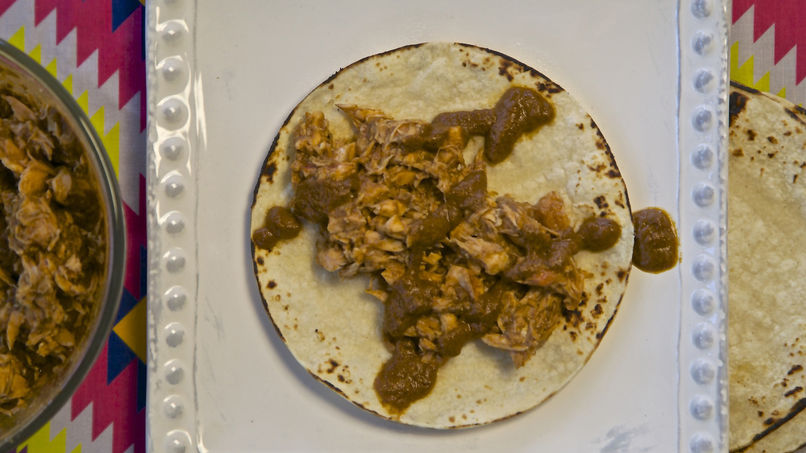 Salmon Tacos in Pipian Sauce