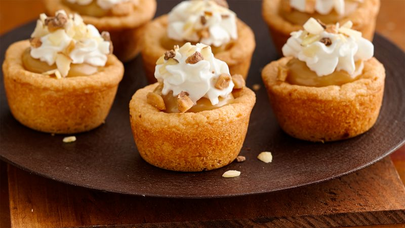 Toffee and Almond Fudge Cookie Cups