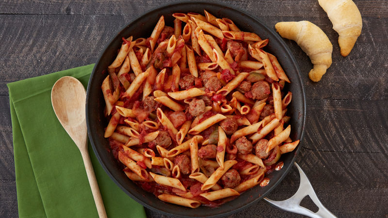 Sausage Onion Peppers And Pasta Skillet Recipe