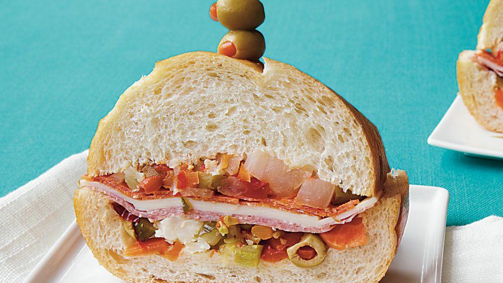 Make-Ahead Muffuletta Party Sandwiches