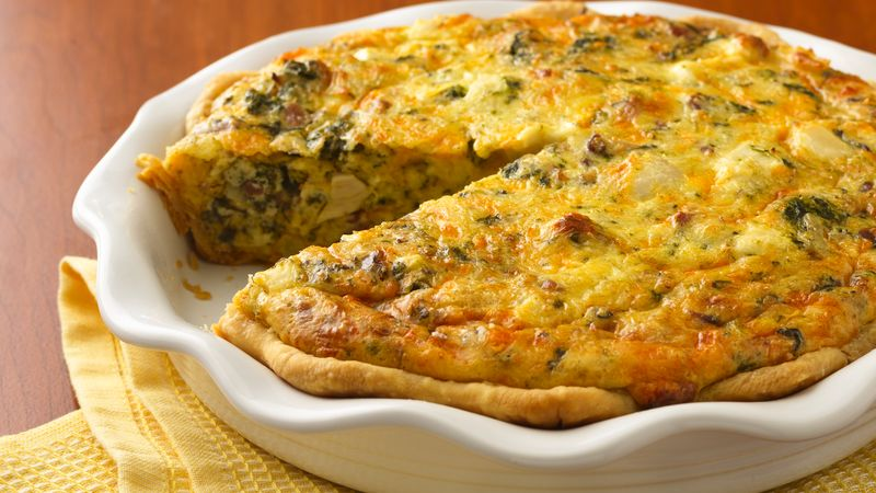 Chicken Asiago Spinach Quiche Recipe Pillsbury Com