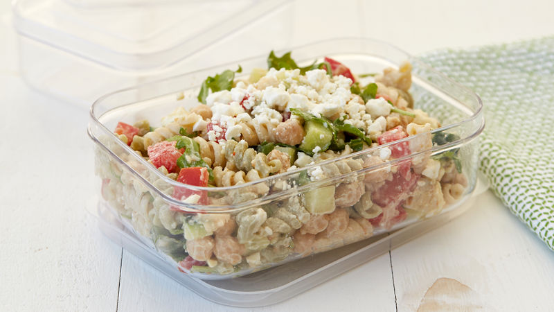 Easy Greek Pasta Salad with Tahini Dressing