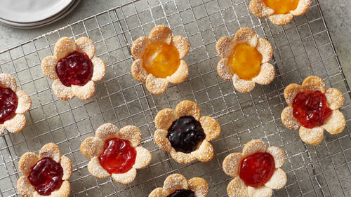 Mini Cream Cheese-Jam Flower Tarts