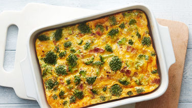 Overnight Cheesy Bacon and Broccoli Egg Bake