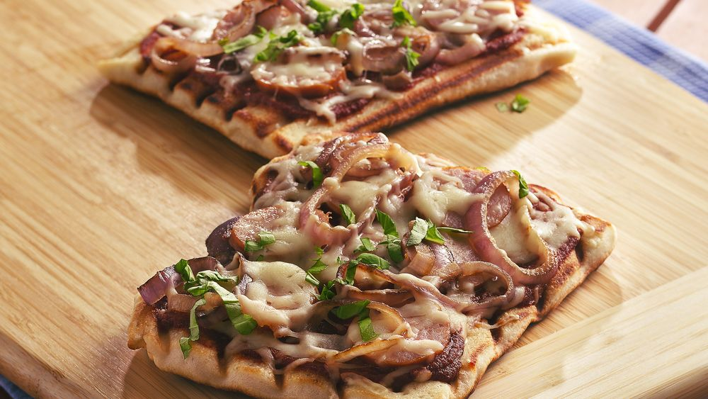 Grilled Kielbasa, Caramelized Onion and Basil Pizzas