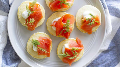 Appetizer recipes bettycrocker mini pancake blini with salmon and dill forumfinder Images