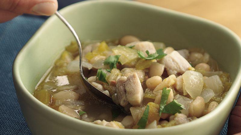 Green Chile Chicken and Bean Chili Recipe BettyCrockercom
