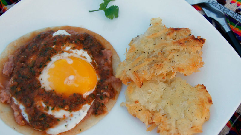Huevos Rancheros with Yucca Hash Browns