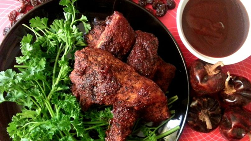 Pork Ribs with Raisin BBQ Sauce