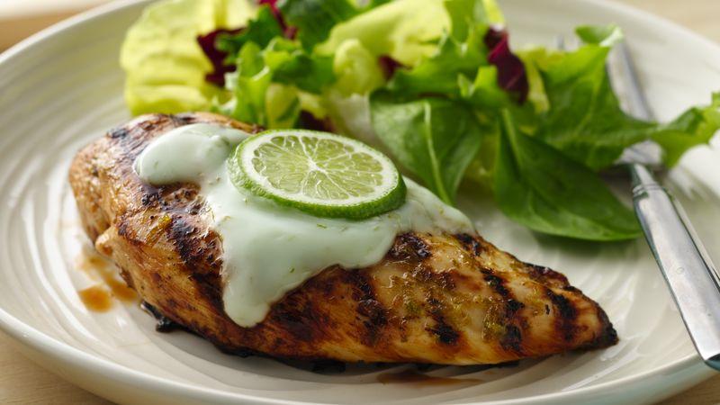 Grilled Margarita Chicken with Yogurt Sauce