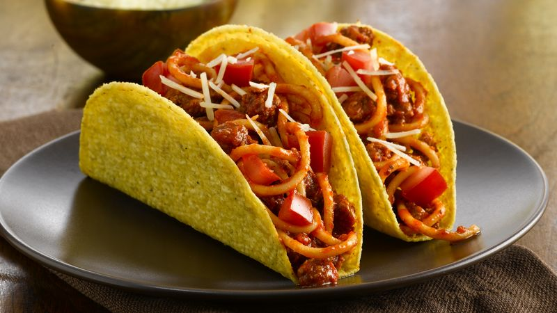 Fiesta Spaghetti Tacos Recipe Bettycrocker Com