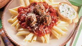 Italian Turkey Meatballs With Mostaccioli