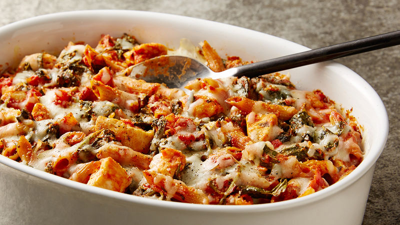 Healthy Three Cheese Chicken Pasta Bake Recipe Tablespoon Com