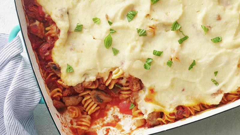 """Lighter Tomato """"Alfredo"""" Pasta Bake"""