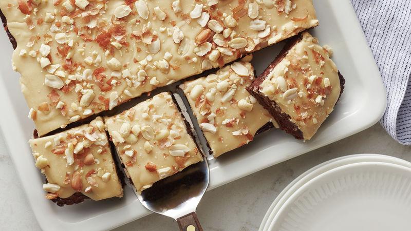 Salted Peanut Glazed Brownies