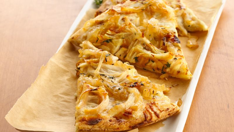 White Chicken Pizza with Caramelized Sweet Onions
