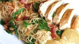 Pan Seared Chicken Breast with Wilted Spinach and Angel Hair Pesto