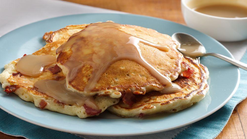 Bacon Corncakes with Warm Maple Cream