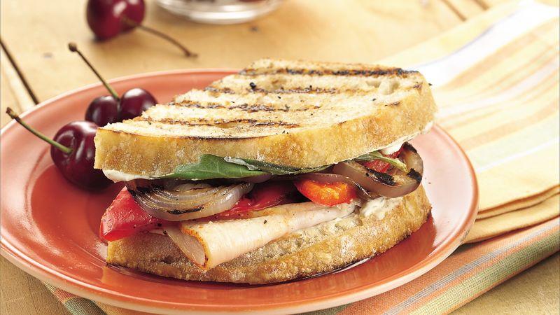 Grilled Veggie Turkey Sandwiches Recipe Bettycrocker Com