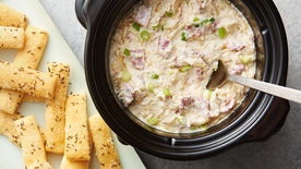 Slow-Cooker Corned Beef Gruyère Dip with Caraway Flatbreads