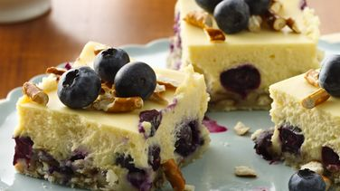 Lemon-Blueberry Pretzel Cheesecake Squares