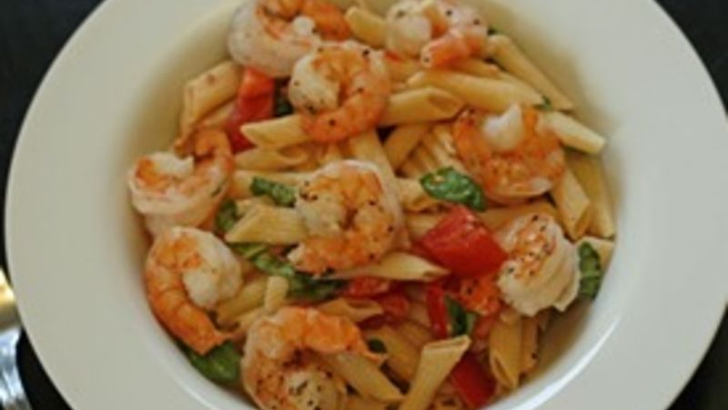 Fresh Tomato Basil Pasta with Romano Roasted Shrimp
