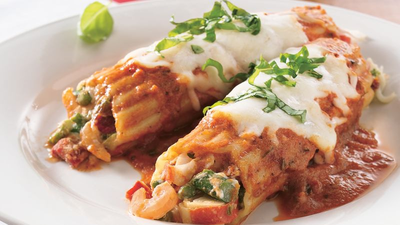 Seafood and Asparagus Manicotti Recipe - BettyCrocker.com