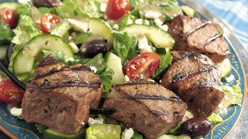 Greek Beef Kabob Salad