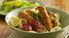 Chicken Strips Italiano with Linguine