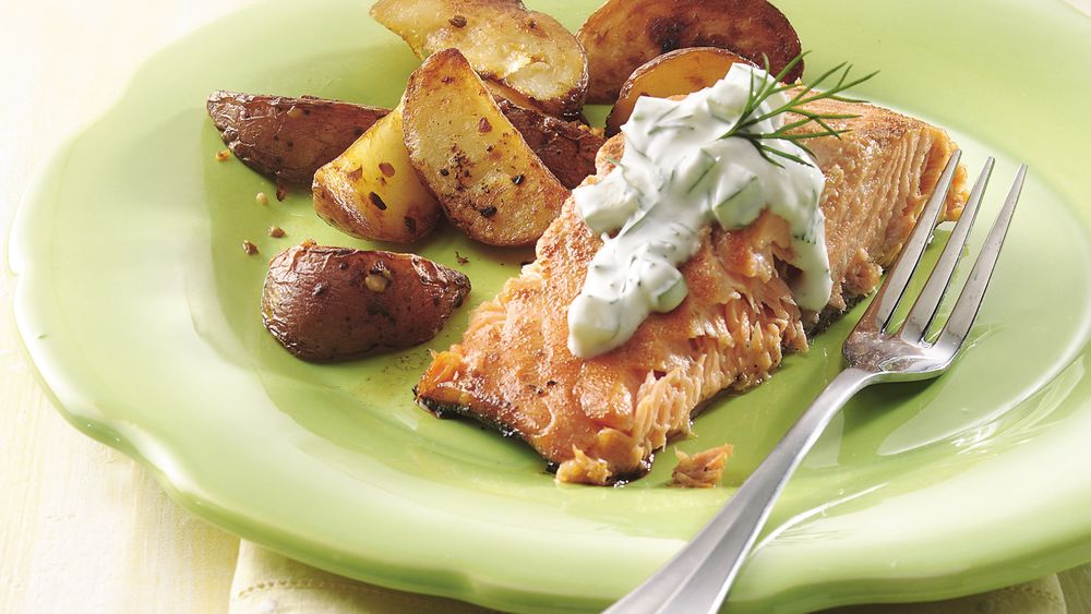 Grilled Marinated Salmon with Cucumber Sauce