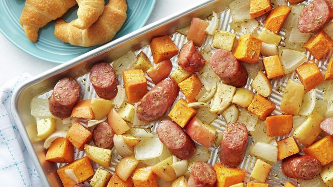 Sheet-Pan Chicken Sausage with Fall Vegetables