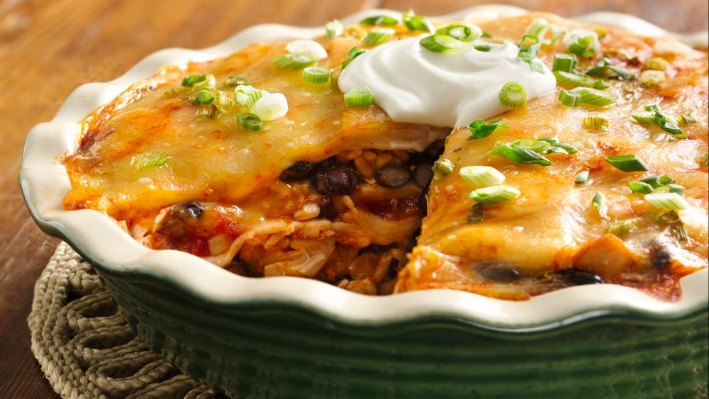 Speedy Layered Chicken Enchilada Pie