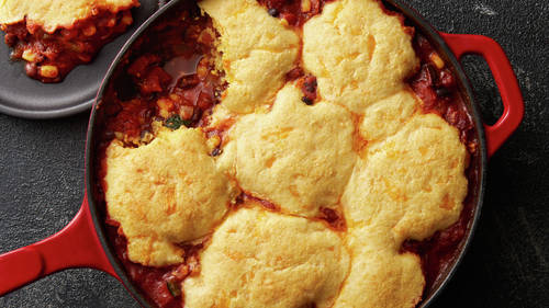 Skillet Black Bean and Corn Tamale Pie