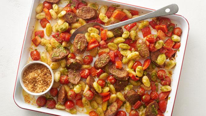 Sheet-Pan Gnocchi with Sausage and Pesto