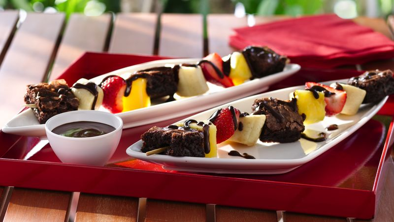 Brownie and Fruit Kabobs