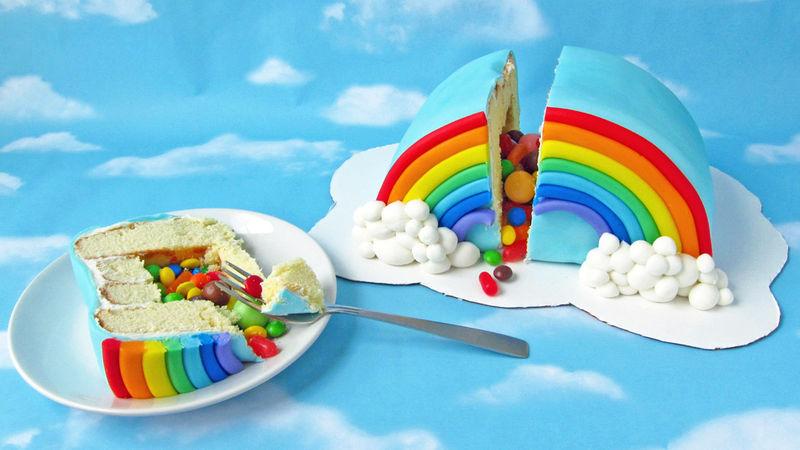 Rainbow Pinata Cake